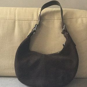 BANANA REPUBLIC CHOCOLATE BROWN SUEDE SHOULDER BAG